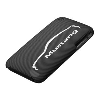 Mustang GT Coupe White Silhouette w/ Faux Carbon iPhone 3 Case