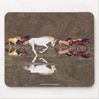 Mustang Horse Herd Art on 2-D Faux Tooled-leather Mouse Pad