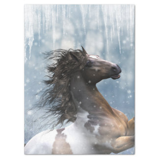 Mustang Horse In The Snow Tissue Paper