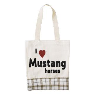Mustang horses zazzle HEART tote bag