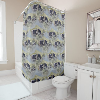 Mustang Mare and Foal Art Pattern Shower Curtain