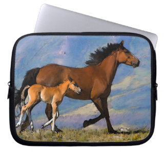 Mustang mare and foal laptop sleeve