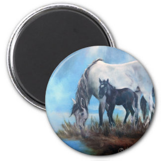 Mustang Morning 2 Inch Round Magnet