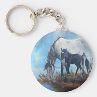 Mustang Morning Basic Round Button Keychain