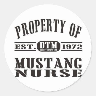 Mustang Nurse Classic Round Sticker