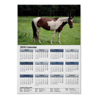 Mustang on the pasture DIN A4 calendar 2016 Poster
