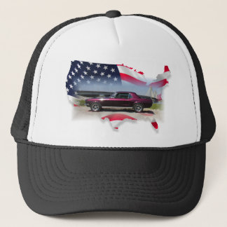 Mustang Over American Flag.png Trucker Hat