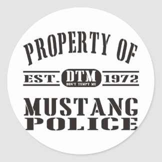 Mustang Police Classic Round Sticker