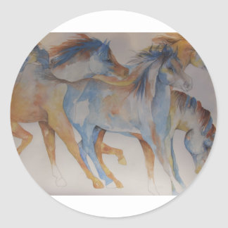 Mustang Portrait Classic Round Sticker