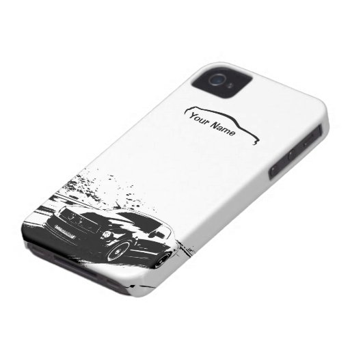 """Mustang Rolling Shot - """"add your own text"""" Case-Mate iPhone 4 Cases"""