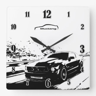 Mustang rolling shot square wall clock