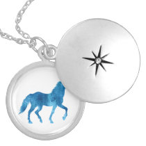 Mustang  silhouette - Choose background color Locket Necklace