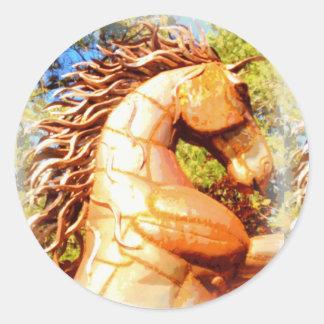 mustang stallion classic round sticker