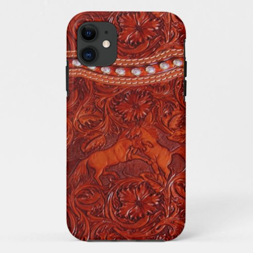 mustang  western leather  iphone 5 case Phone Case
