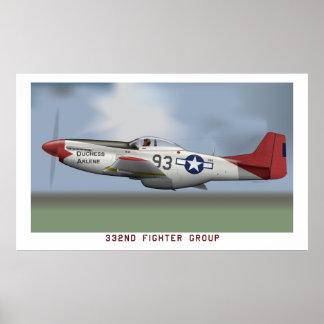 Mustango de P-51D de los aviadores de Tuskegee (33 Póster