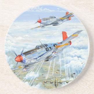 Mustango del aviador P-51 de Tuskegee de la Segund Posavasos Diseño