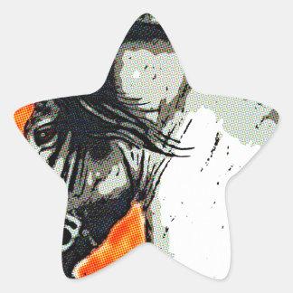 Mustango frisio pegatina forma de estrella