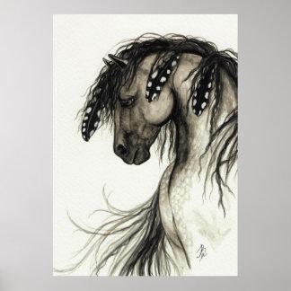 Mustango majestuoso por el poster gris del caballo