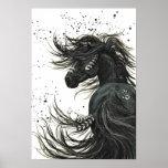 Mustango majestuoso por el poster negro del caball