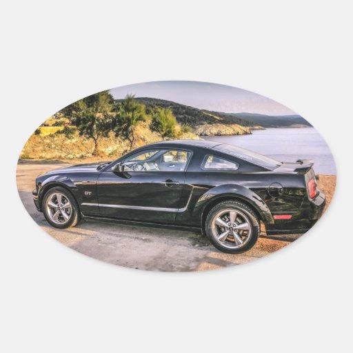 Mustango negro GT Calcomania De Óval Personalizadas