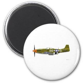 """Mustango norteamericano """"cuervo viejo """" de P-51D Imán Redondo 5 Cm"""