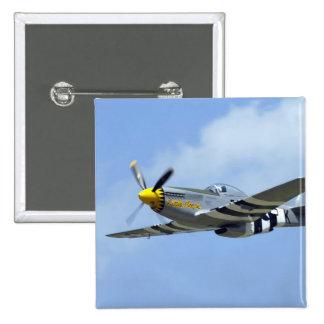 Mustango norteamericano de P-51D, pequeño caballo Pin Cuadrada 5 Cm