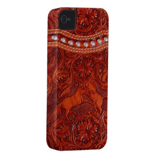 mustangos de cuero con el caso de plata del iphone Case-Mate iPhone 4 fundas