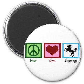 Mustangos del amor de la paz imán redondo 5 cm