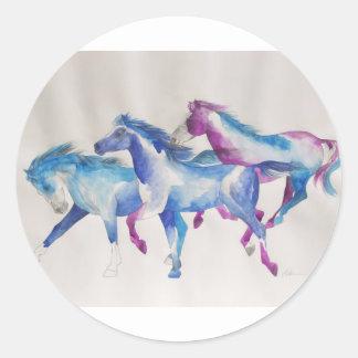 Mustangos el rabiar en pastel pegatina redonda