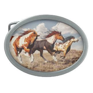 Mustangos galopantes hebillas cinturon ovales