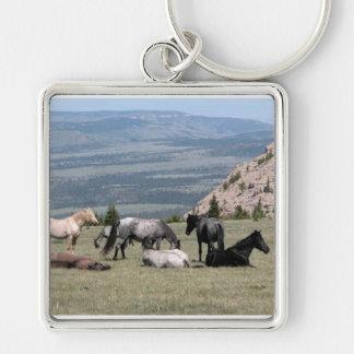 Mustangos Llavero Cuadrado Plateado