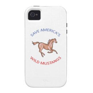 MUSTANGOS SALVAJES Case-Mate iPhone 4 FUNDA