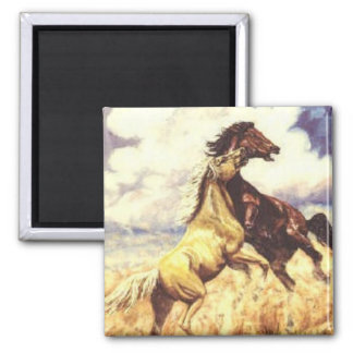 Mustangs Fighting 2 Inch Square Magnet