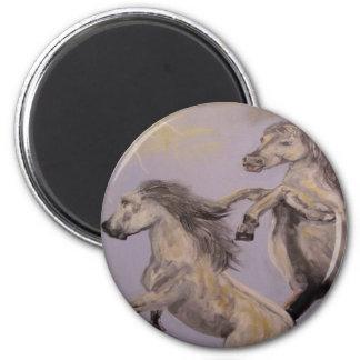 """Mustangs"" Round Magnet"