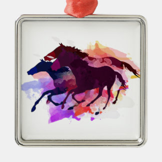 Mustangs - The Wild Bunch Square Metal Christmas Ornament