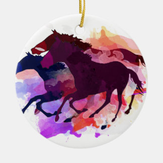 Mustangs - The Wild Bunch Double-Sided Ceramic Round Christmas Ornament