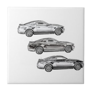 Mustangs! Small Square Tile
