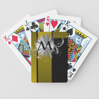 Mustard and black monogrammed bicycle playing cards