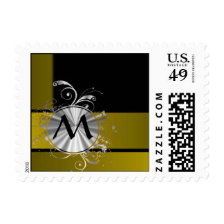 Mustard and black monogrammed postage stamps