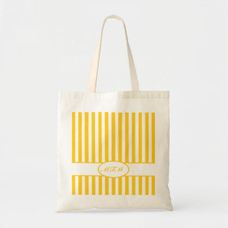 Mustard Autumnal Stripes with monogram Tote Bag