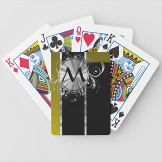 Mustard black and silver monogram bicycle playing cards