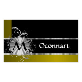 Mustard black and silver monogram business card