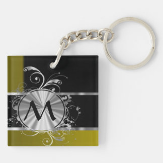 Mustard black and silver monogram Double-Sided square acrylic keychain