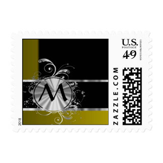 Mustard black and silver monogram postage stamp