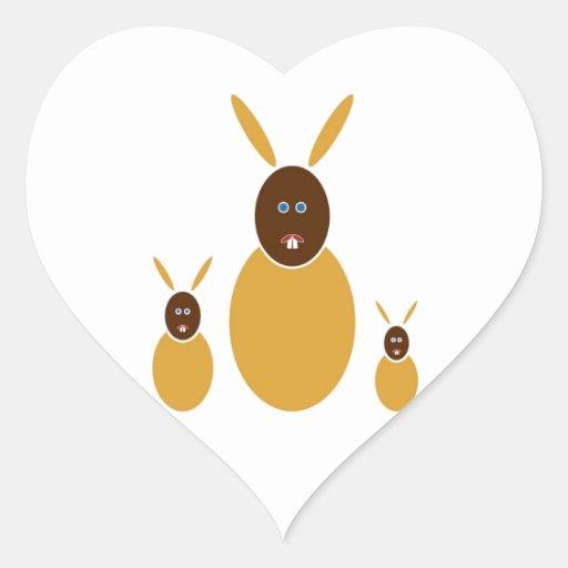 Mustard Bunnies Heart Sticker