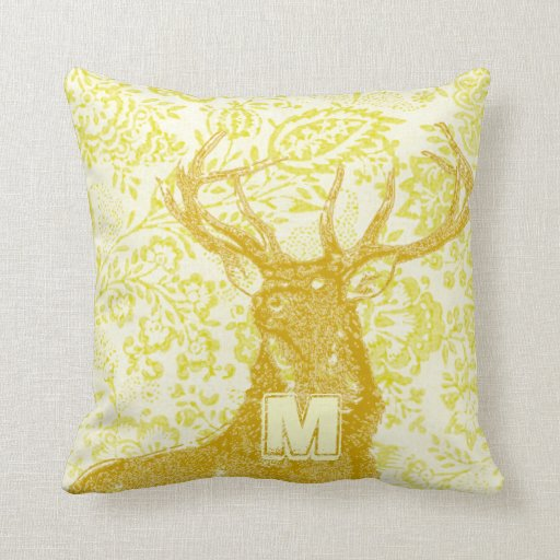 mustard deer on yellow vintage floral pattern throw pillow zazzle. Black Bedroom Furniture Sets. Home Design Ideas