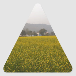 Mustard field and nature triangle sticker