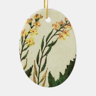 Mustard Flower Vintage art Ceramic Ornament