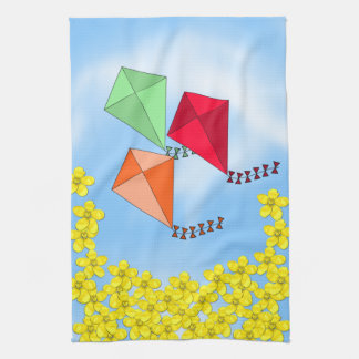 Mustard Flowers and Kites and Clouds Towel