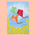 Mustard Flowers and Kites and Clouds Towels